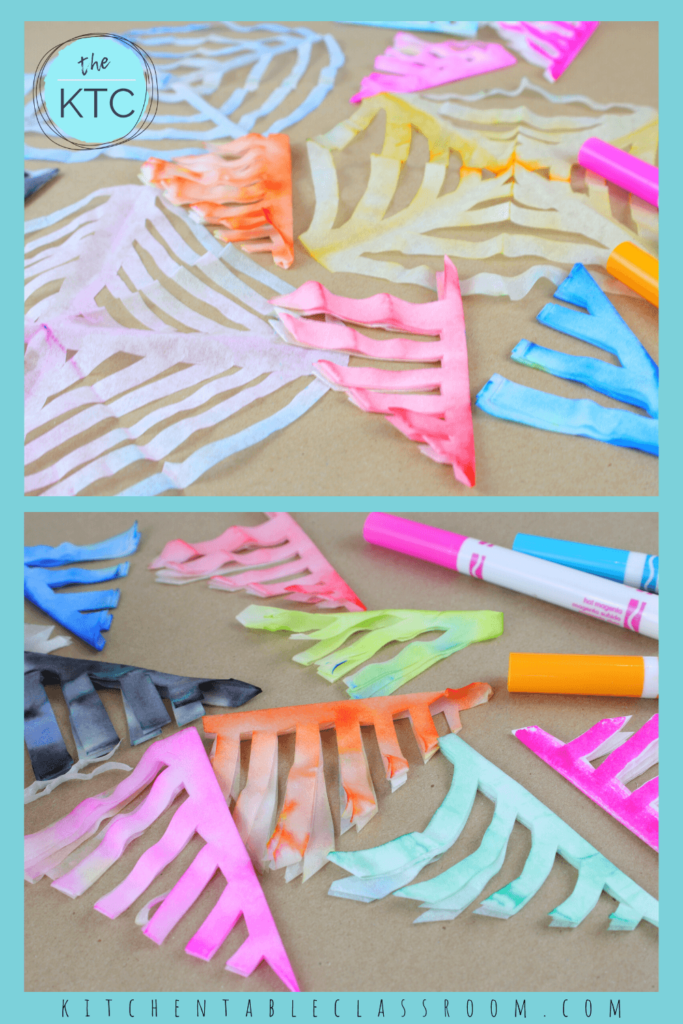 Colorful coffee paper spiderwebs get their color from washable markers.