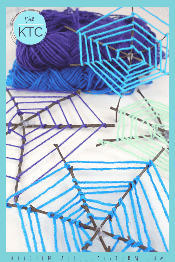 Use colorful yarn and twigs to create the this spiderweb craft