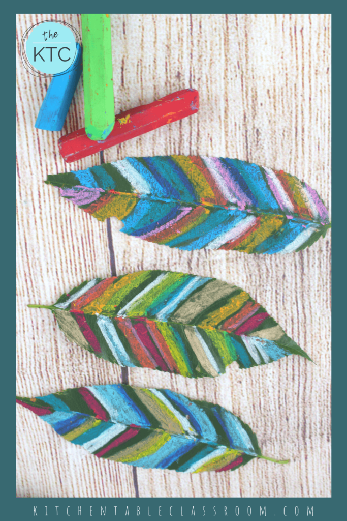 hand colored leaf art with oil pastels