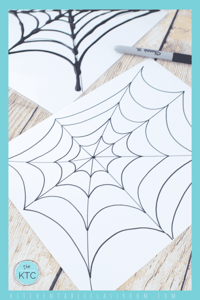 Create rainbow stained glass spiderwebs using permanent markers on poly page protector sheets!