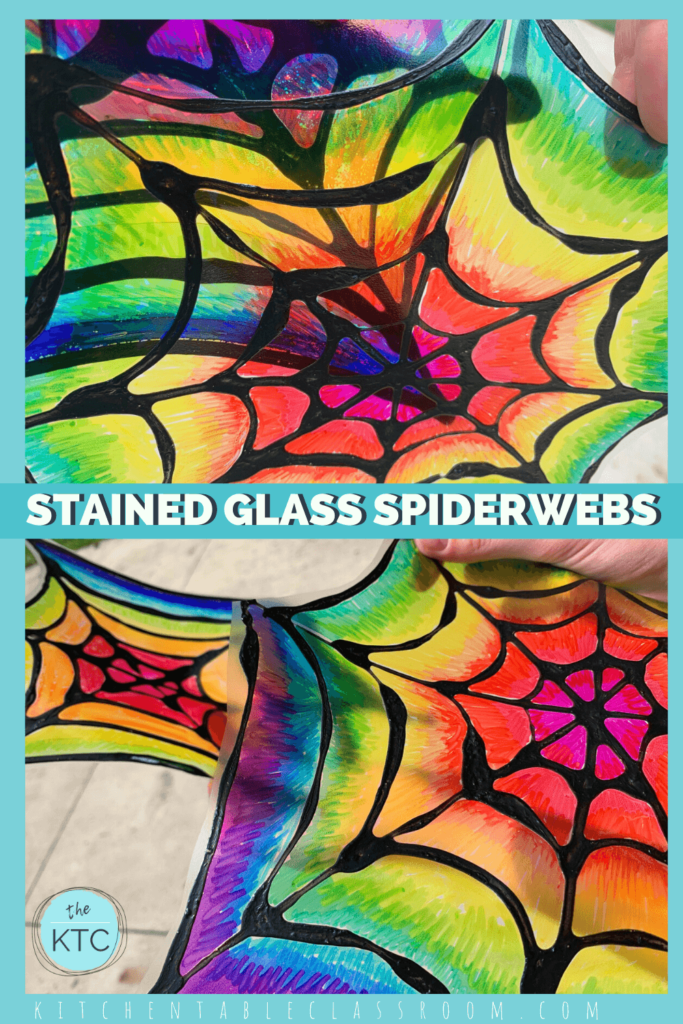 Use permanent markers to create rainbow stained glass spiderwebs.