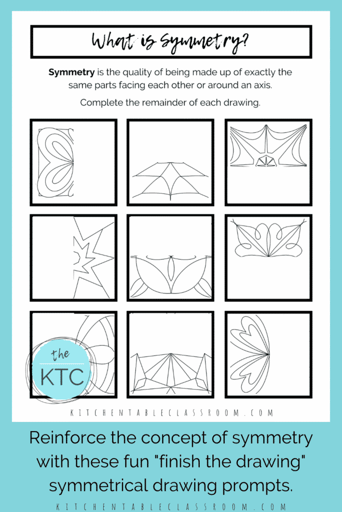 line of symmetry worksheets for kids to complete with pencil or marker