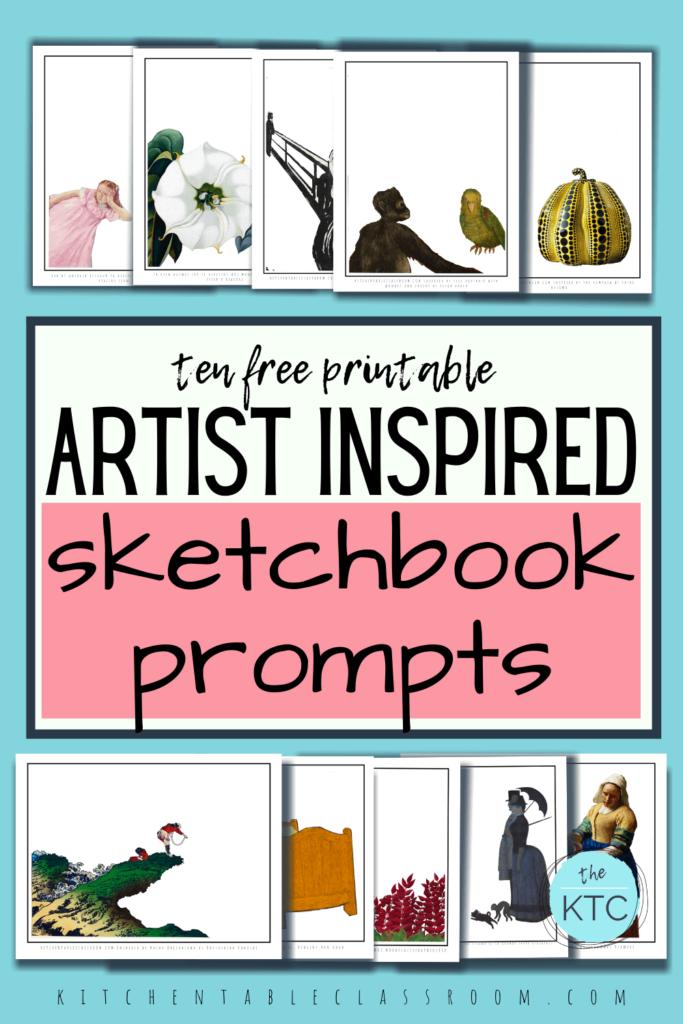 Ten free artist inspired sketchbook prompts- Cassatt, O'Keefe, Munch, Kahlo, Kusama, Hokusai, Van Gogh, Rousseau, Vermeer, and Seurat