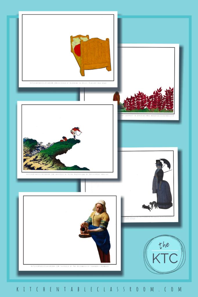 Van Gogh, Rousseau, Hokusai, Vermeer, and Seurat artist inspired sketchbook prompts