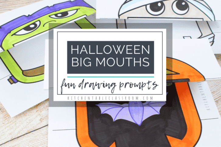 Big mouth Halloween drawing prompts include a jack o'lantern, a mummy, a vampire, and a Frankenstein face.