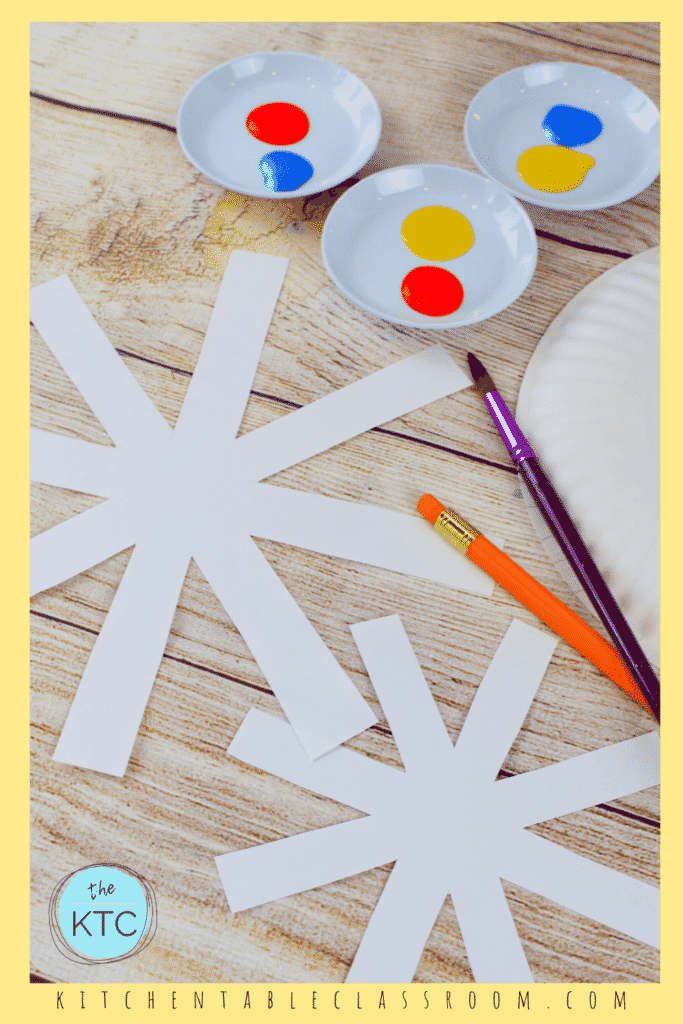 paper plate pumpkin craft with secondary color mixing exercise