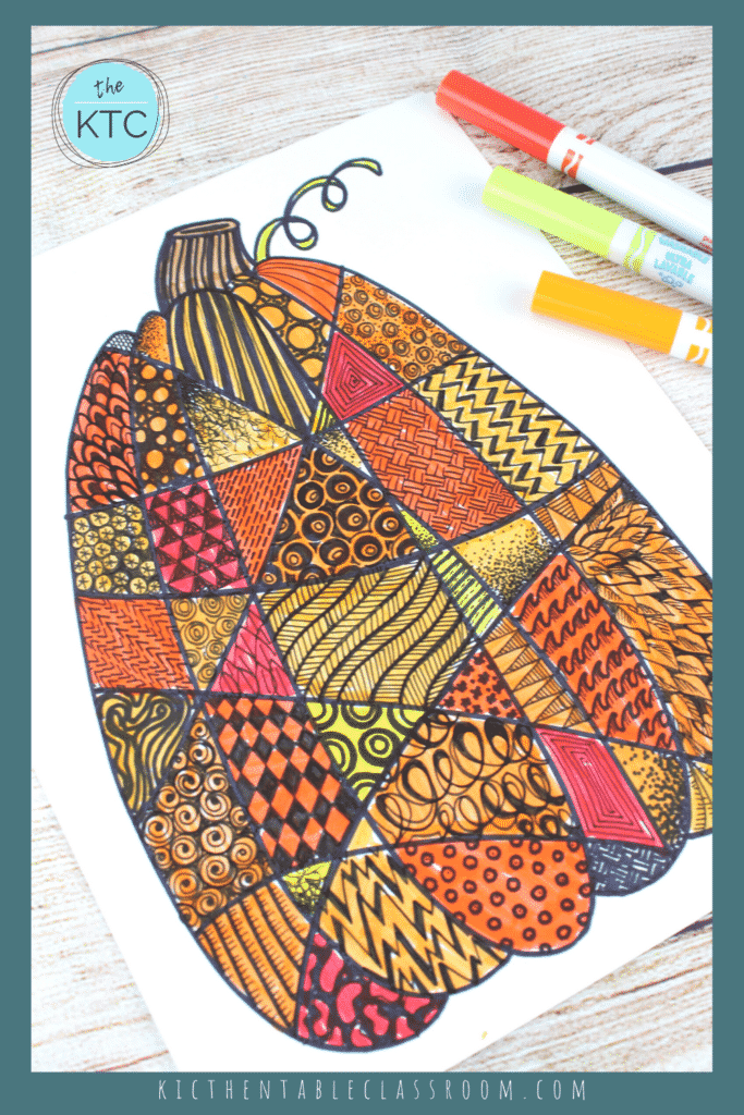 Zentangle pumpkin drawing- a great fall art project for kids