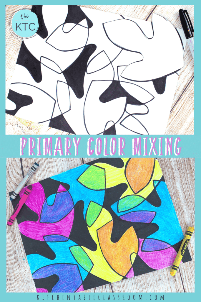 Try color mixing with crayons in this leaf drawing.