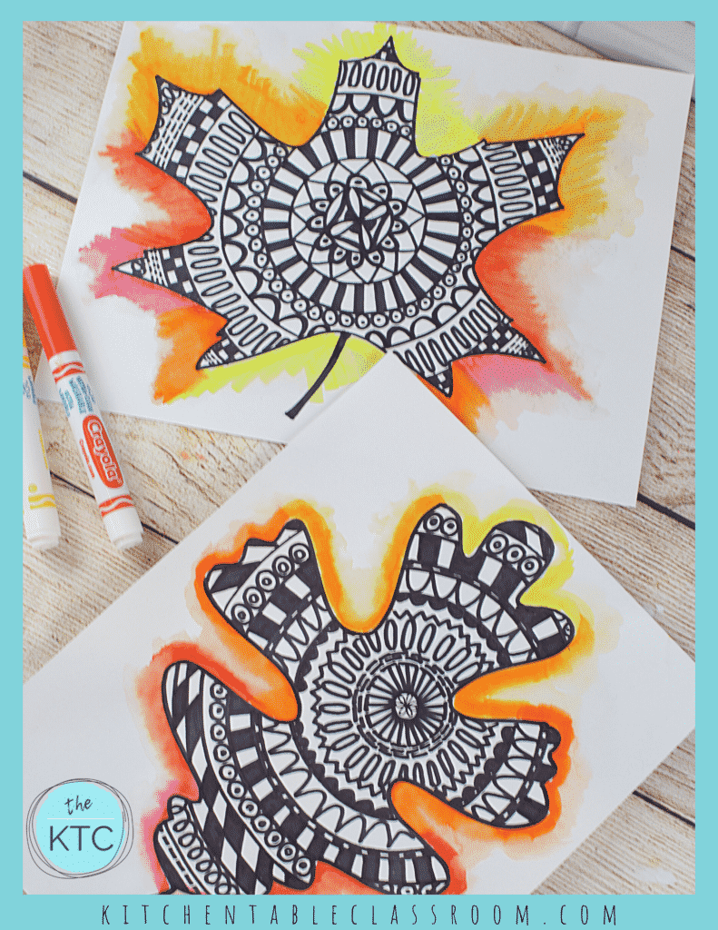 leaf mandala drawing- easy fall art for kids