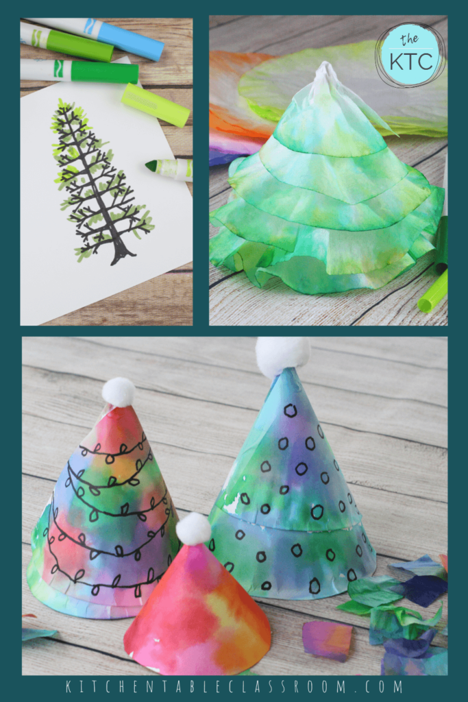 Christmas tree drawing, coffee filter Christmas tree, and a paper plate Christmas tree made with a paper plates