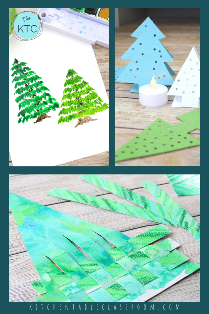 pine tree painting tutorial, Christmas tree luminary, and woven Christmas tree craft