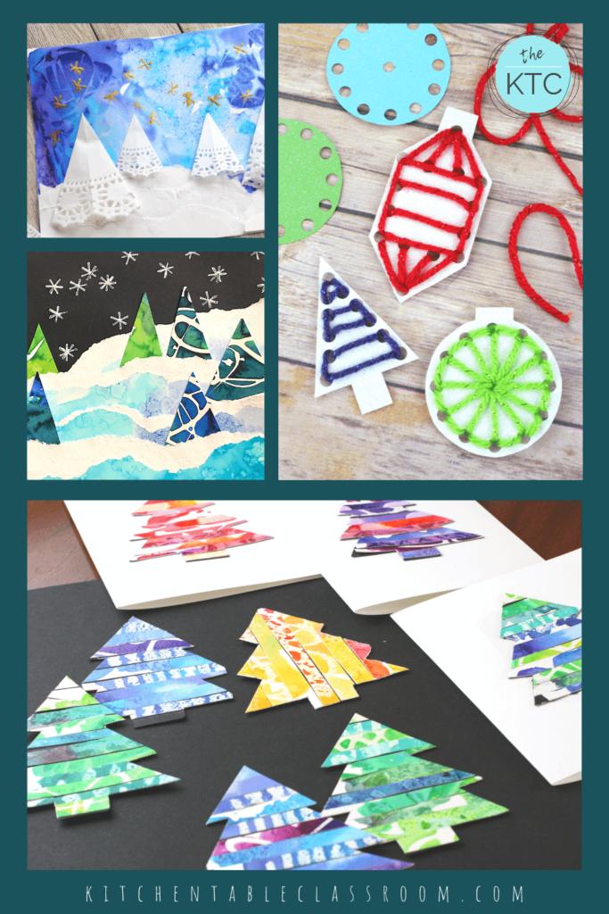 Christmas tree collage, Christmas lacing ornament, up-cycled Christmas tree craft