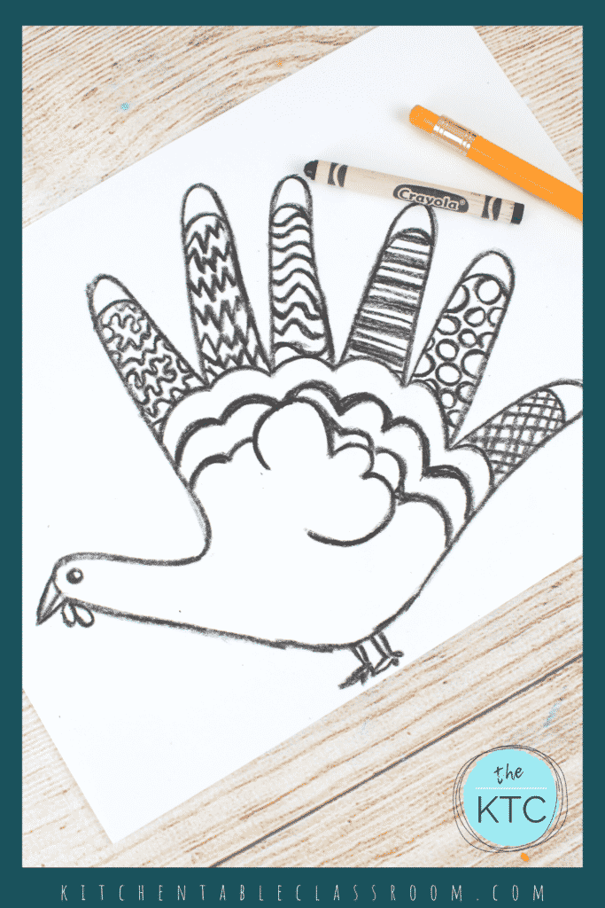 Easy turkey drawing for kids with an emphasis on line