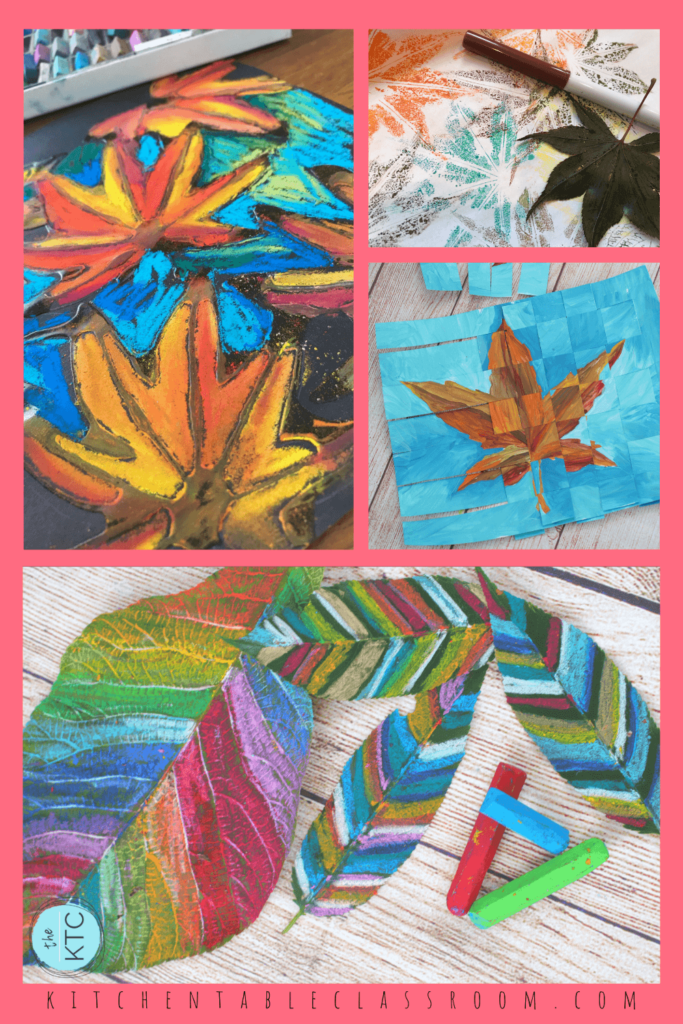 pastel leaf, marker leaf print, weaving leaf painting, and patterned leaf art