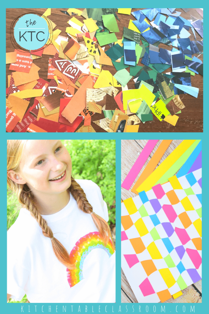 up-cycled color wheel, rainbow t-shirt craft, rainbow paper weaving craft