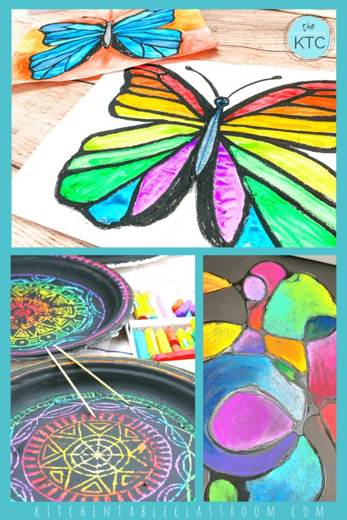 rainbow butterfly painting, rainbow mandala scratch art, rainbow chalk art
