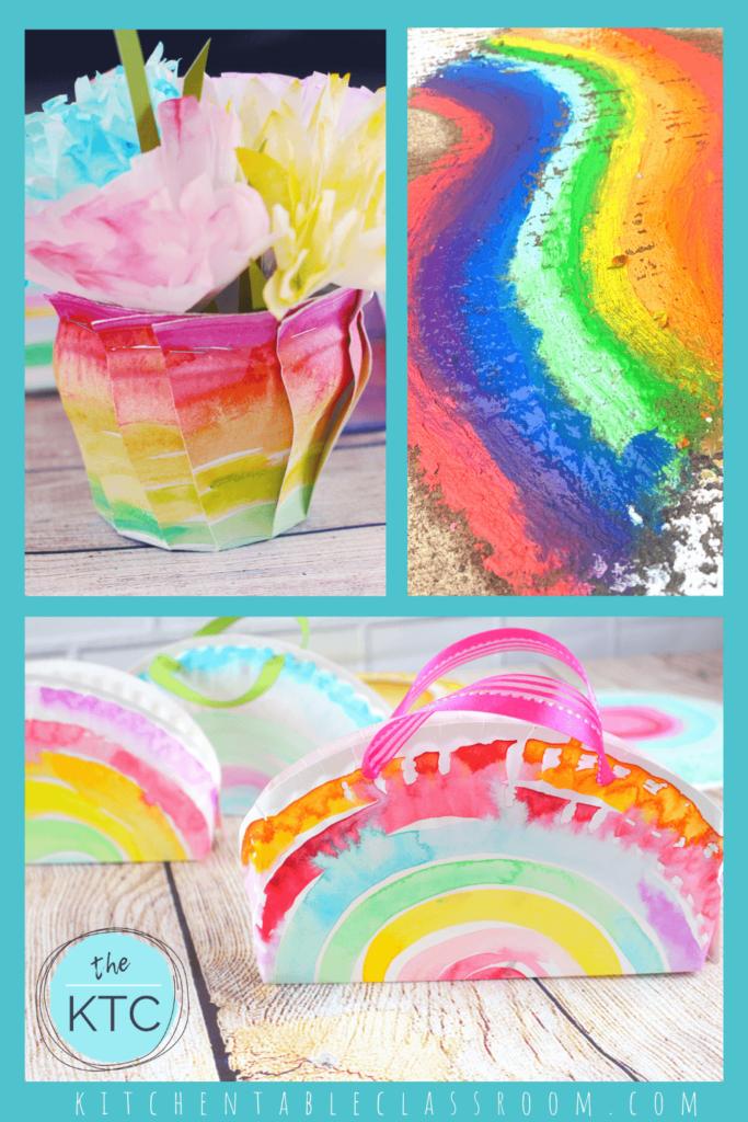 rainbow vase, rainbow sidewalk paint, rainbow purse craft