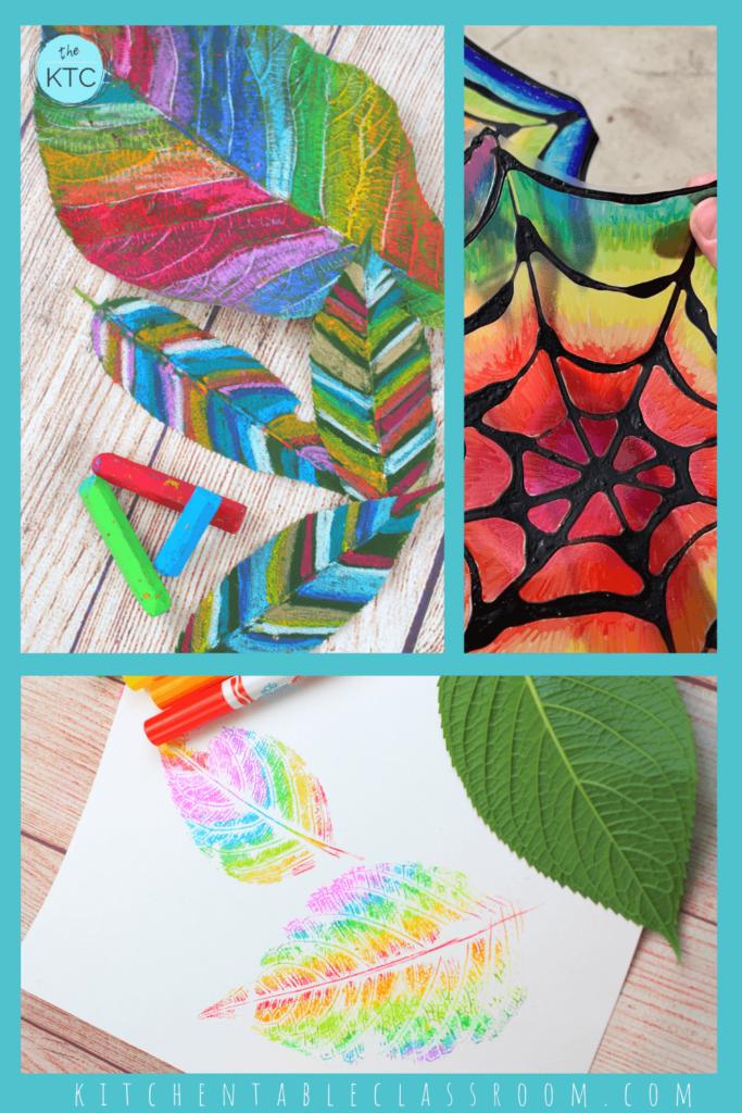 rainbow spiderweb, rainbow colored leaves, rainbow leaf print