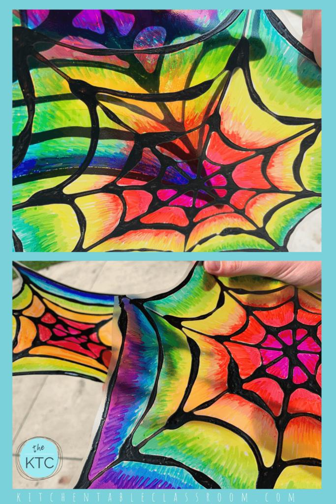 Rainbow spiderweb sun catcher, spider craft