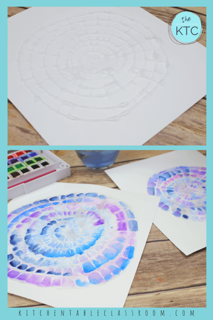 watercolor resist spiderweb painting, spider craft