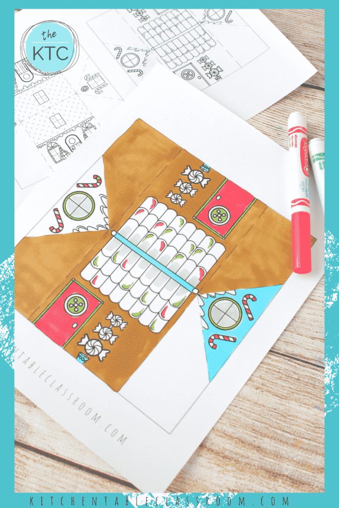 gingerbread house craft to color
