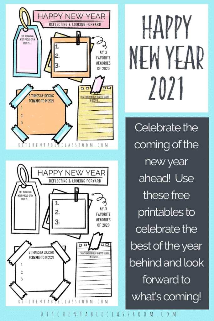Free printable color and black and white New Year's reflection for kids