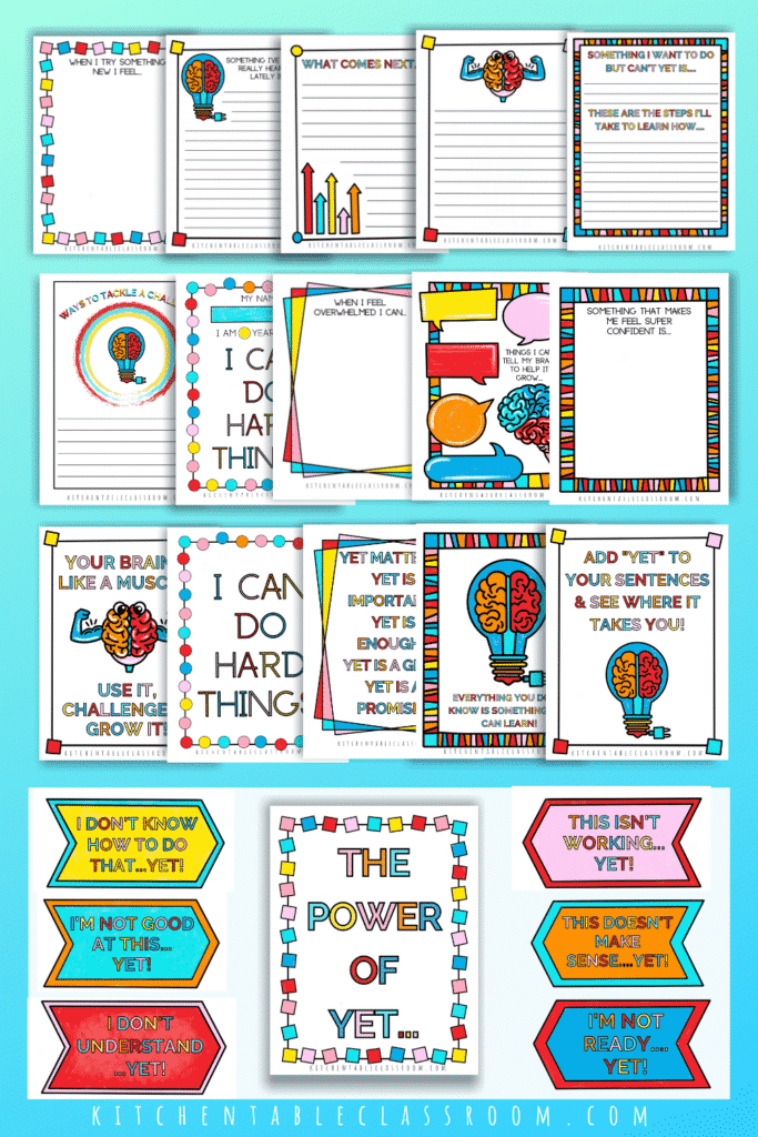 Growth mindset printables and posters for classroom use