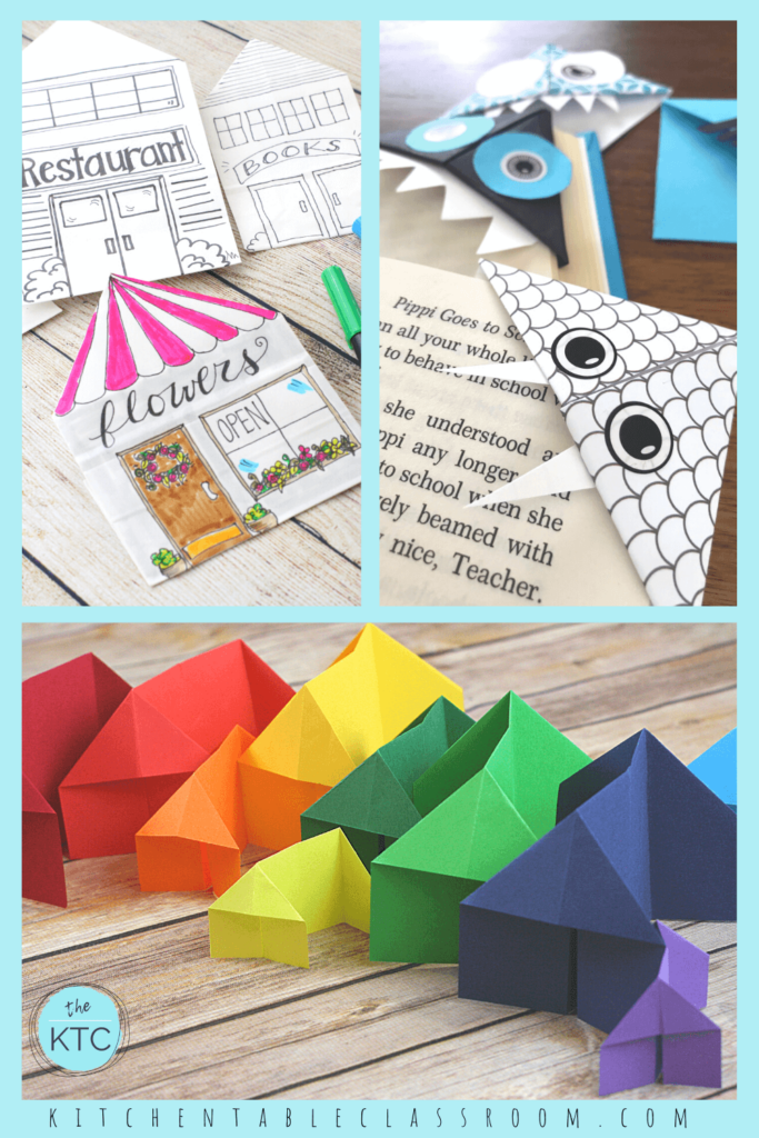 Easy kid's paper crafts- paper houses and paper bookmarks