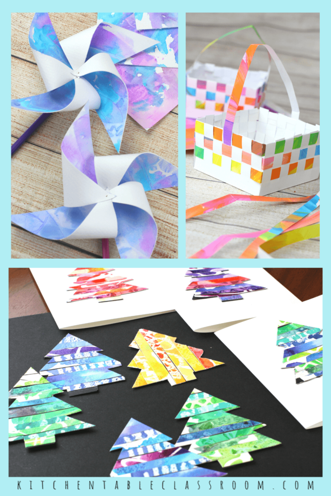 kids crafts from up-cycled kid's artwork