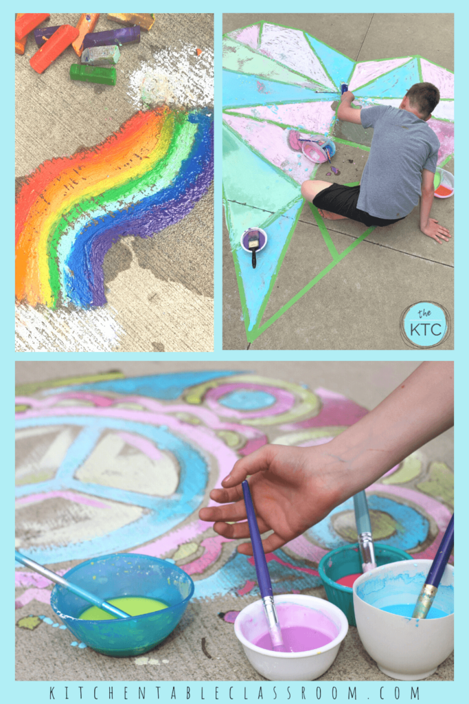Outdoor art lessons for your kinder keep the creativity flowing and the mess outside!