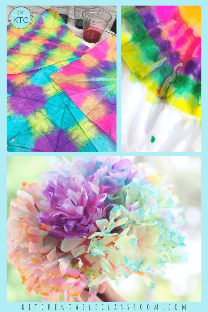 Tie dye craft experiences for kindergarten kids.