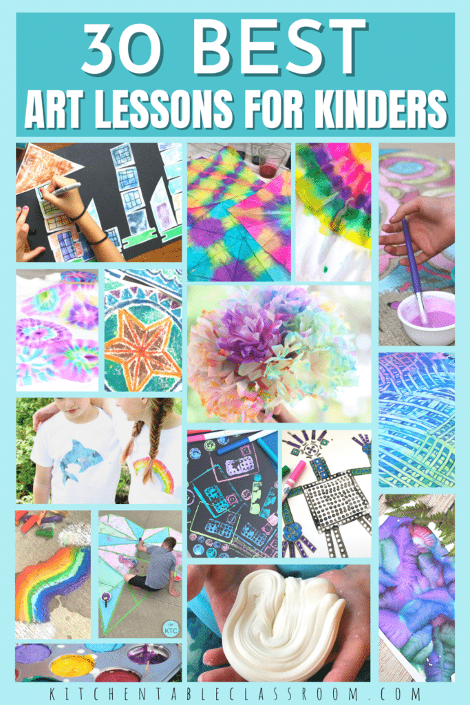 30 best art lessons for kinders- all from Kitchen Table Classroom.