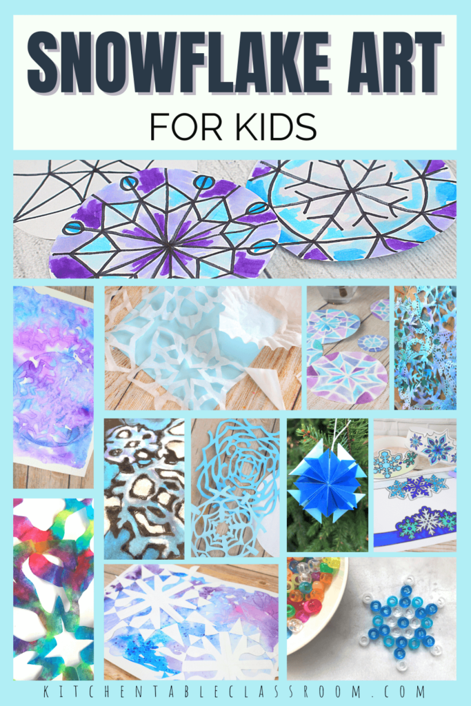 Twelve ideas for easy snowflake art for kids use everyday materials to create original snowflake crafts.