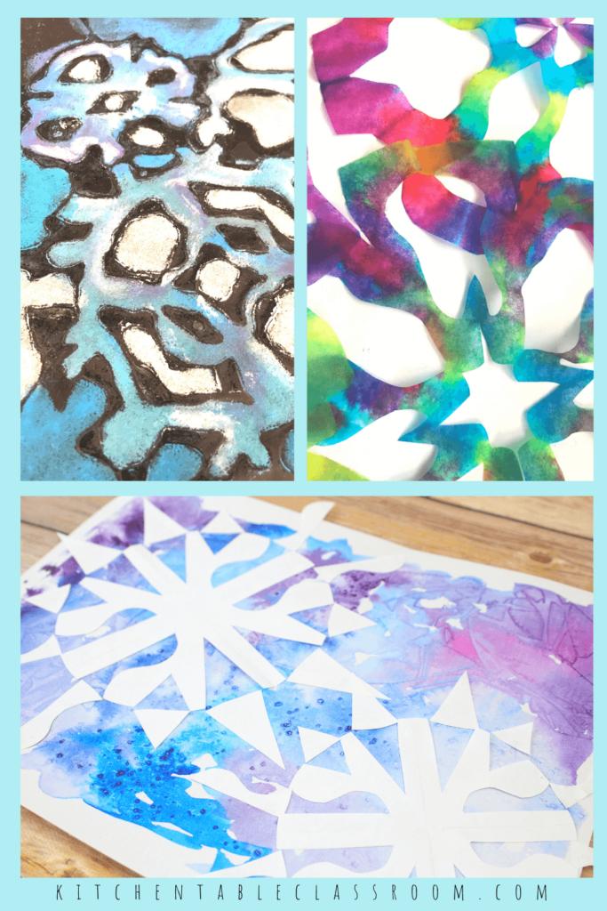 chalk snowflake drawing, coffee filter snowflake, cut paper snowflake