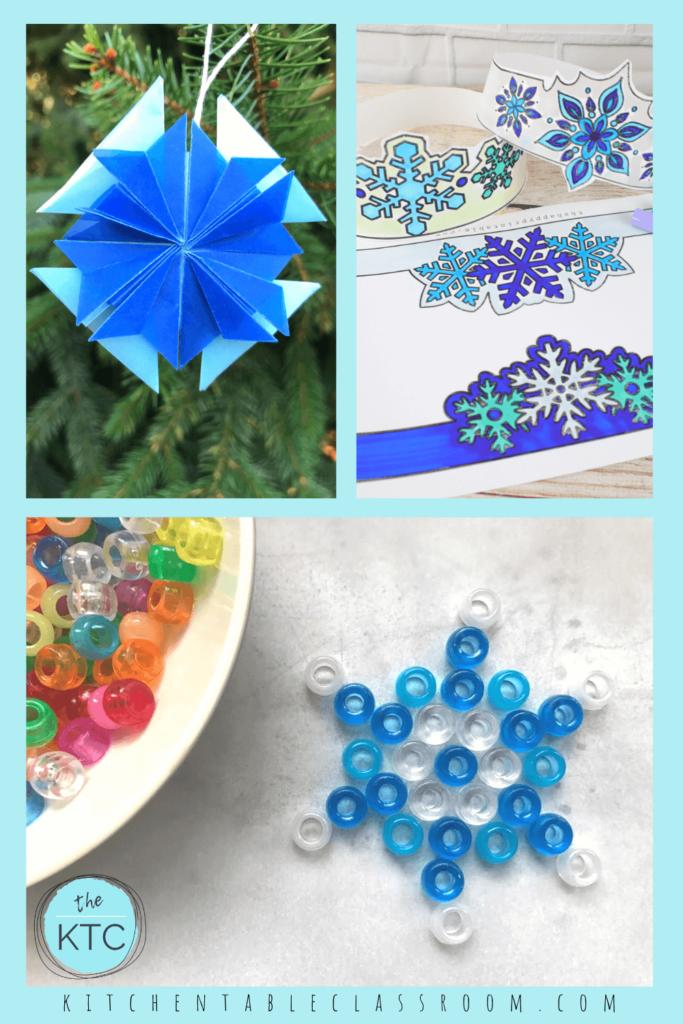 paper snowflake ornament, beaded snowflake ornament, printable snowflake headband