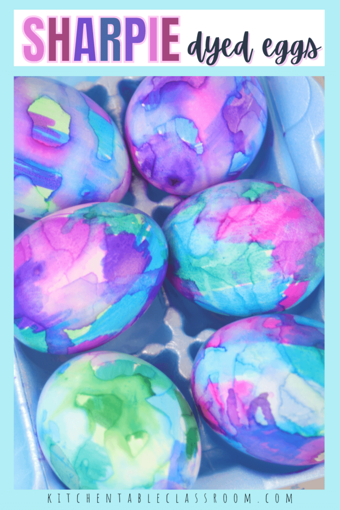 tie dye Easter eggs with permanent marker
