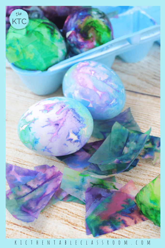 bleeding tissue paper coming off Easter eggs