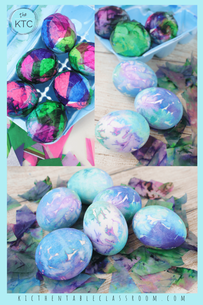 tissue paper Ester eggs with blue, pink, and purple colors