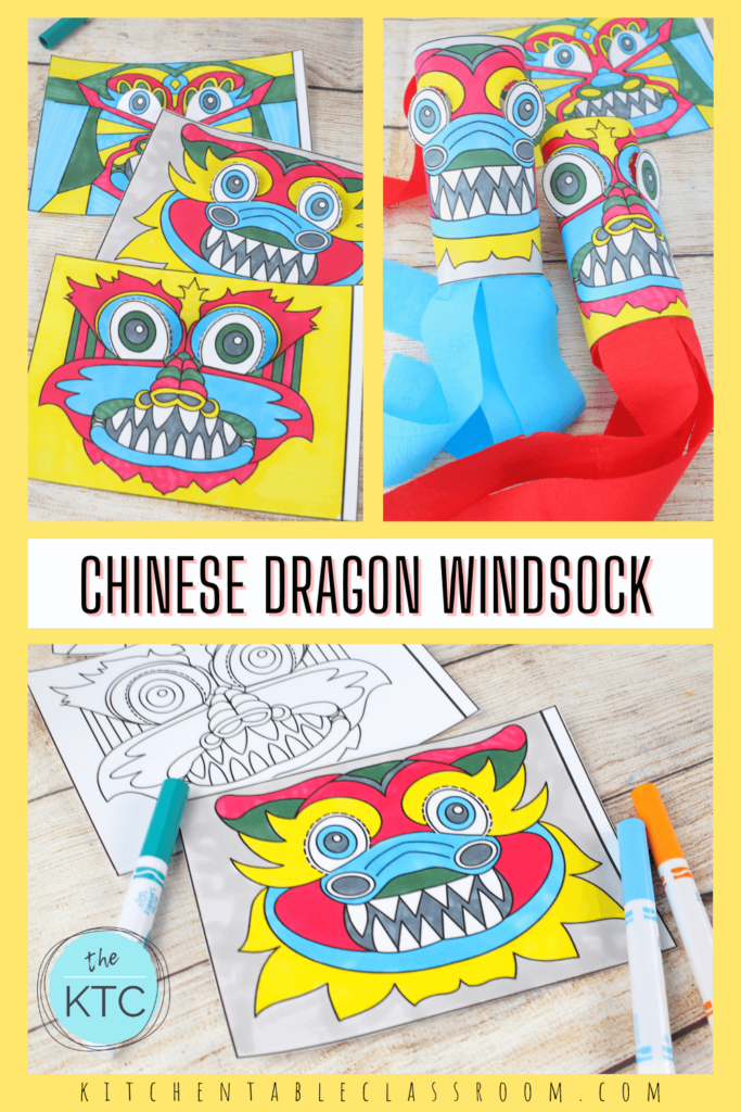 Chinese dragon windsock craft from three original free templates