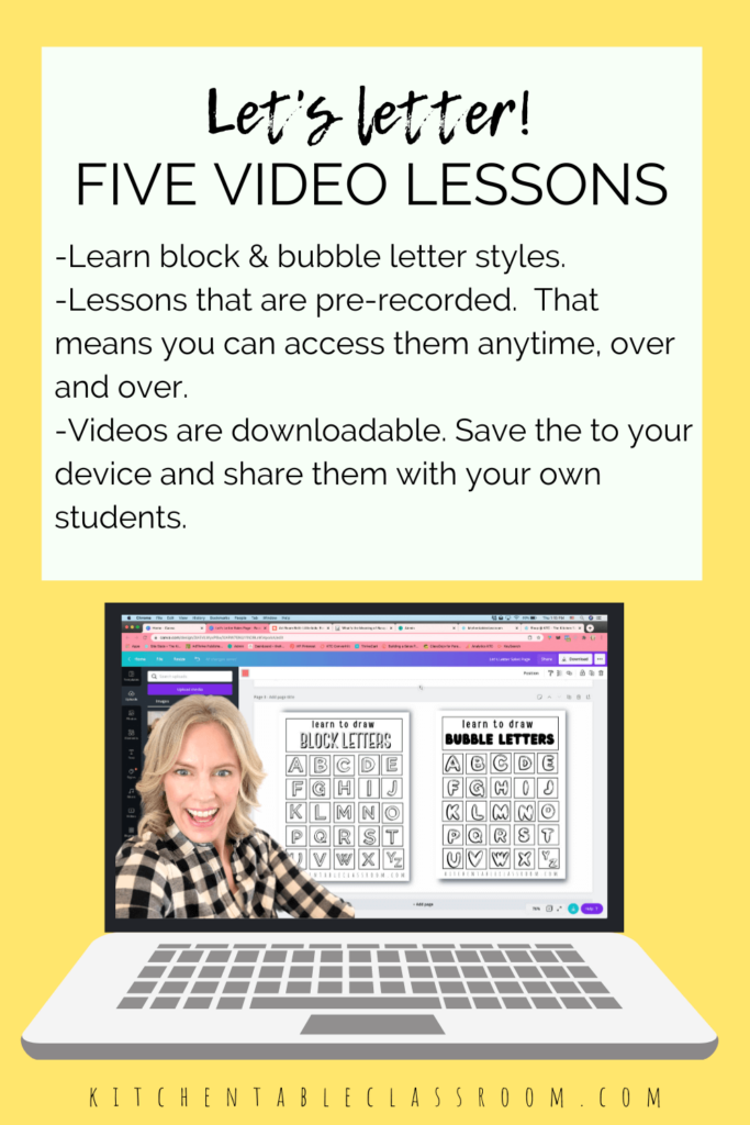 Lettering for kids- downloadable video lessons to walk your kids through each step