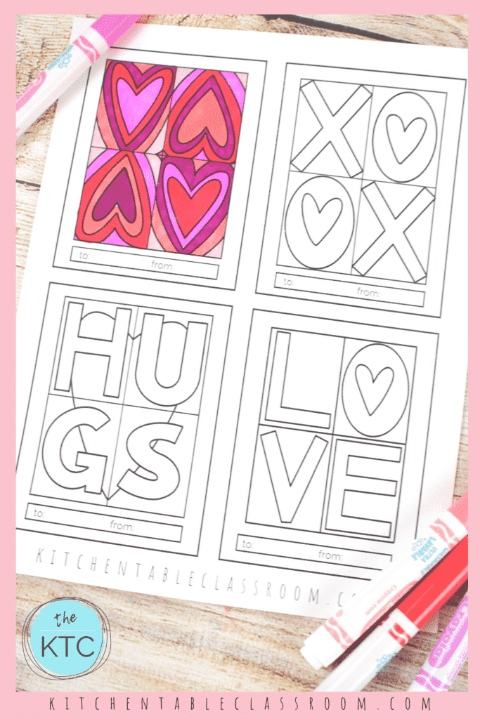 printable Valentine's Day cards to color- inspired by Pop art