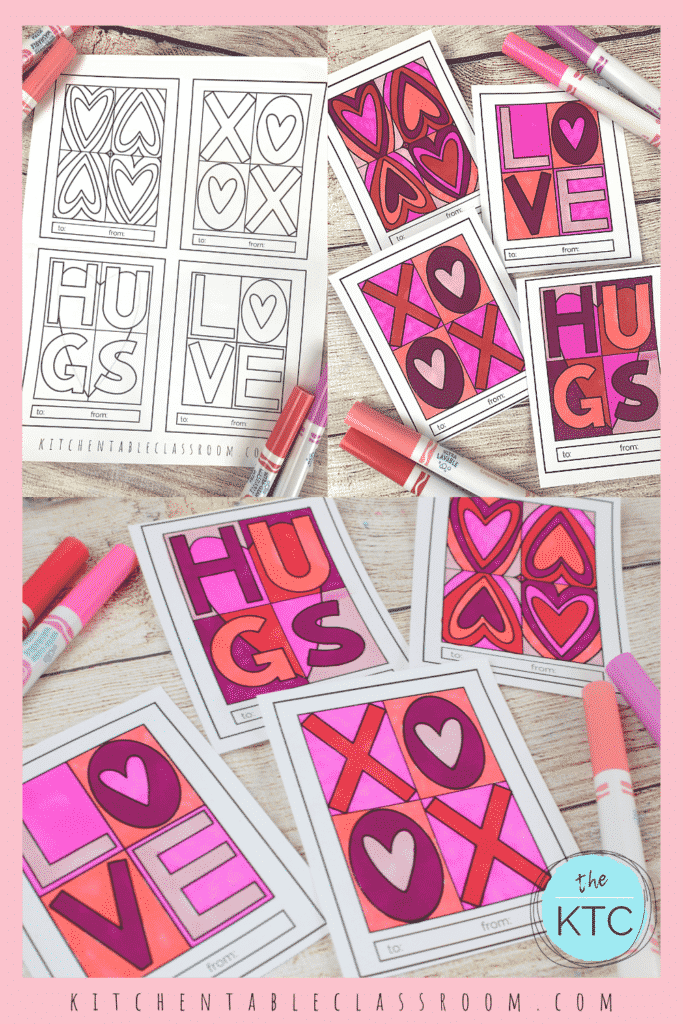 Pop art inspired Valentine's Day cards to print and color