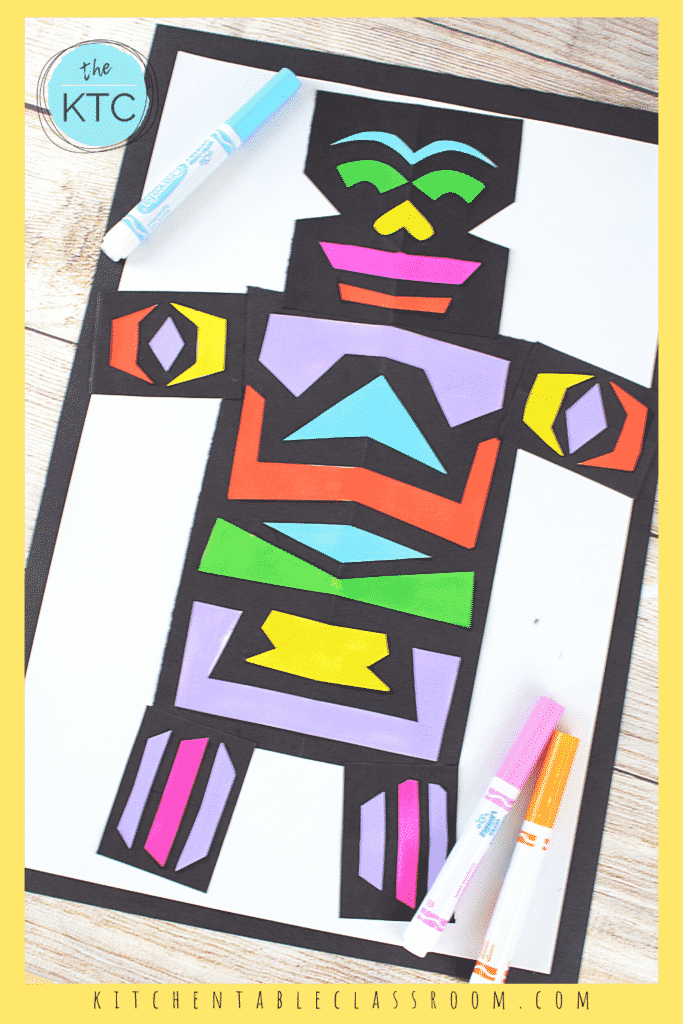 Add color to your shape robot using markers or crayons.