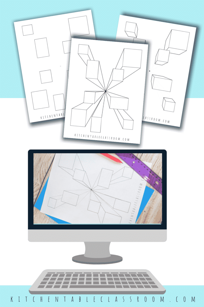 Learn to draw a three dimensional cube by using one point perspective- video drawing lesson and printable.
