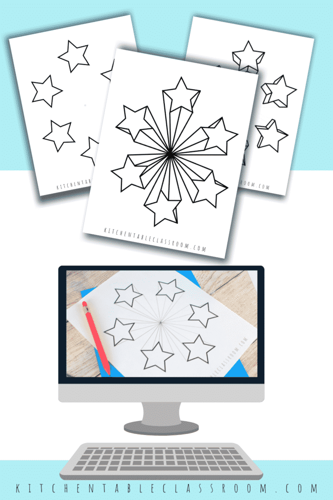 Learn to draw a three dimensional star by drawing in one point perspective- video drawing lesson and printable resource
