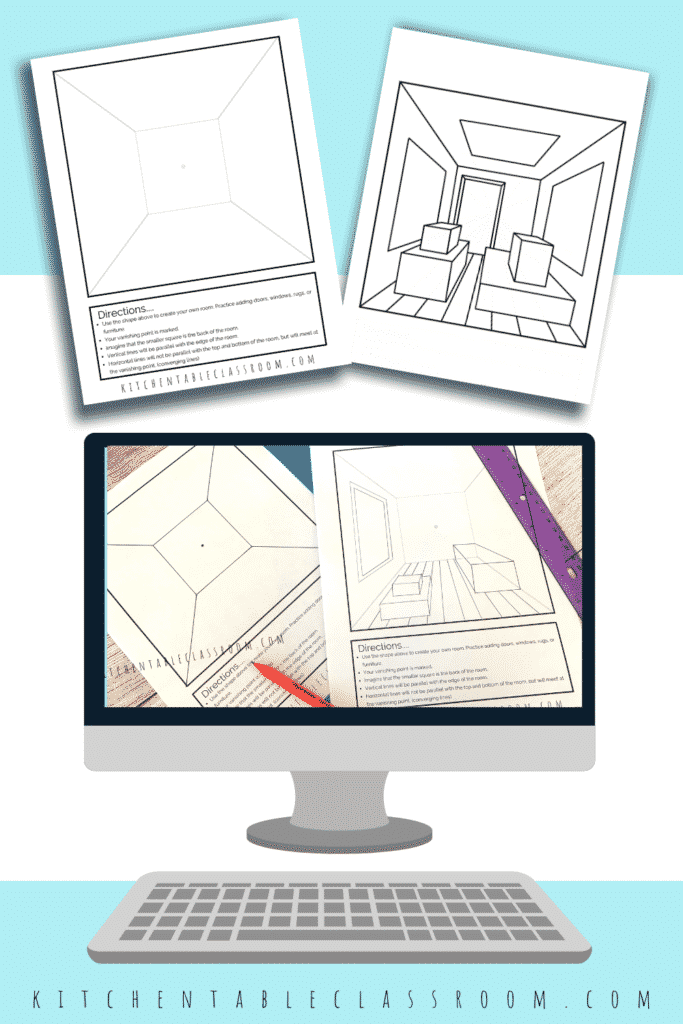 Practice drawing a one point perspective room  through a series of video art lessons and printable resources