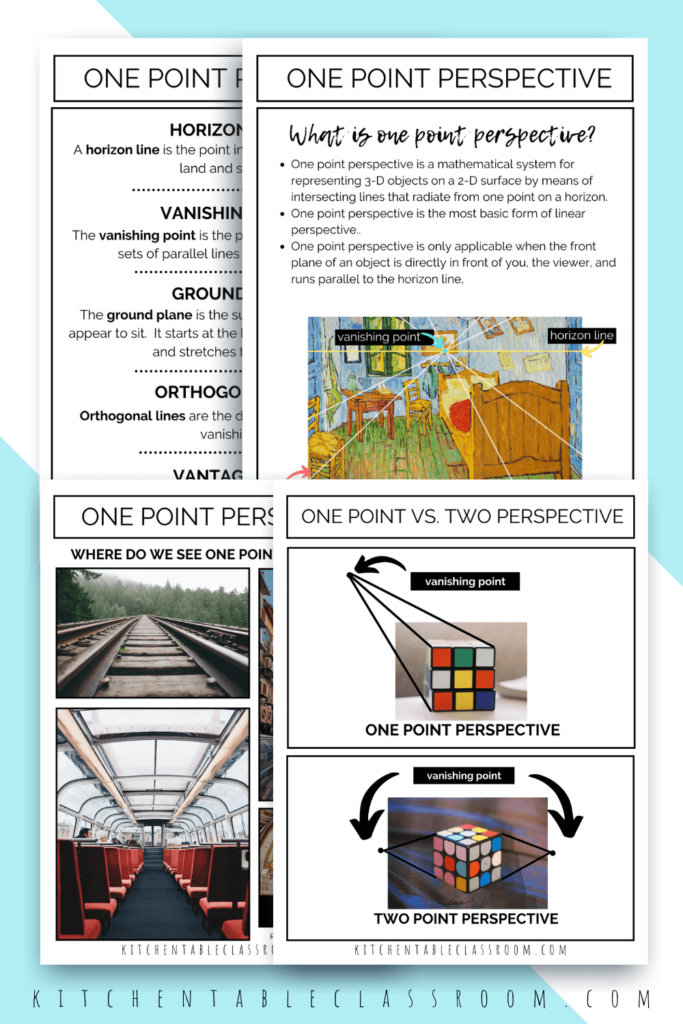 what is one point perspective, where do we see it, and how do artists use one point perspective- printable resources for students and teachers