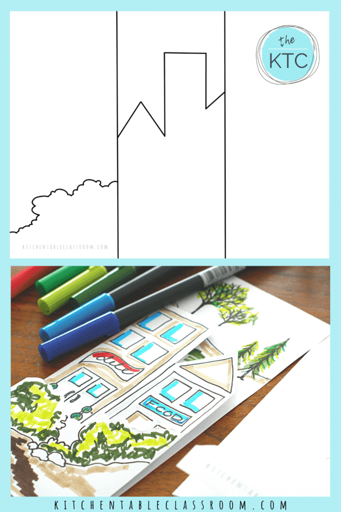 Foreground, middleground and background printable is an easy pencil art projects for kids.