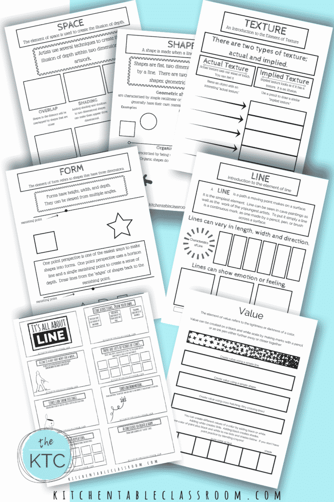 Learn about the element of art with these printable pages- all you need is a pencil!