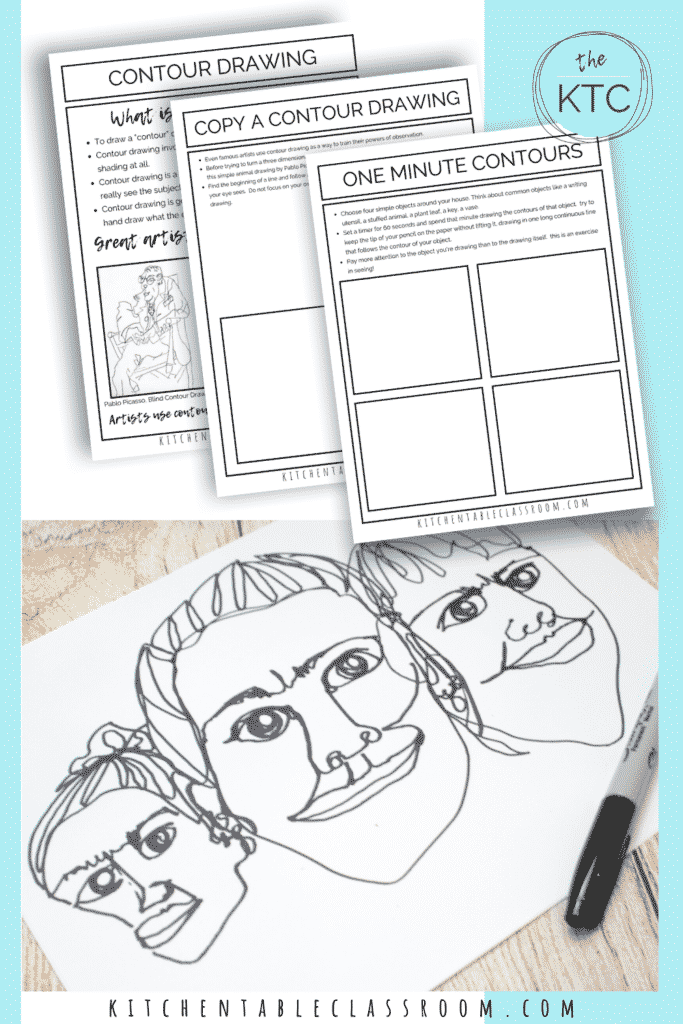 Contour drawing is an easy pencil drawing lesson for kids.